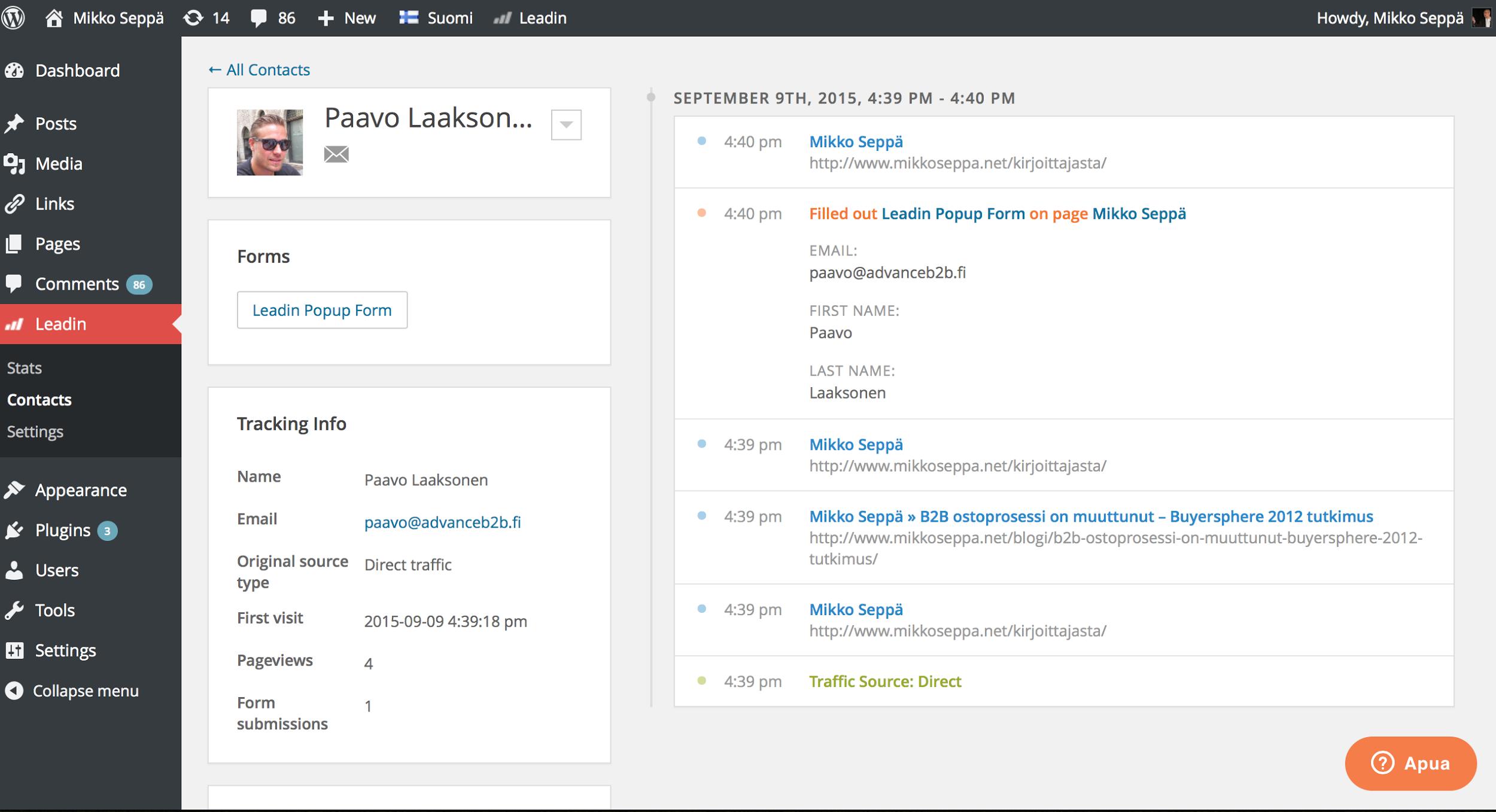 leadin wordpress timeline