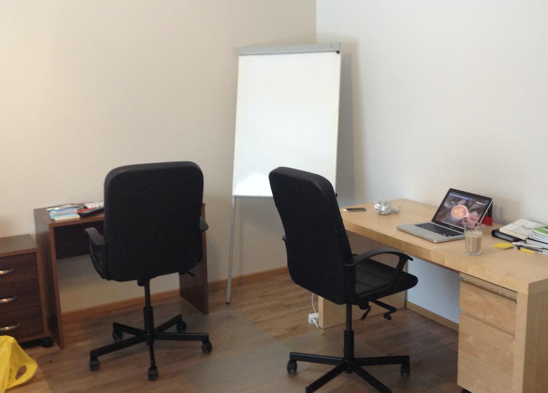 Kuva: Advance B2B ensimmäinen toimisto. Toimisto varustettuna saunalla, can't complain!