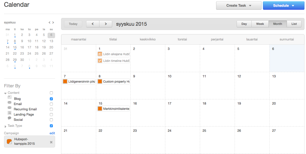 hubspot marketing calendar