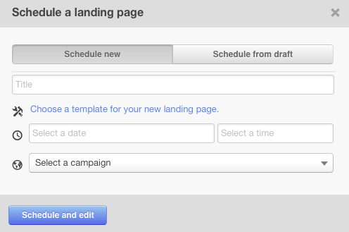 schedule a landing page